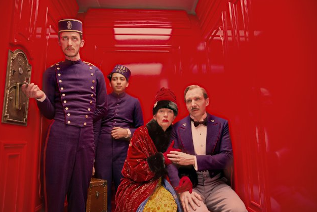 From left to right: Paul Schlase, Tony Revolori, Tilda Swinton and Ralph Fiennes.