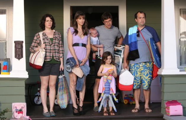 Togetherness: from left to right, Melanie Lynskey, Amanda Peet, baby (could not find name), Mark Duplass, Abby Ryder Fortson and Steve Zississ